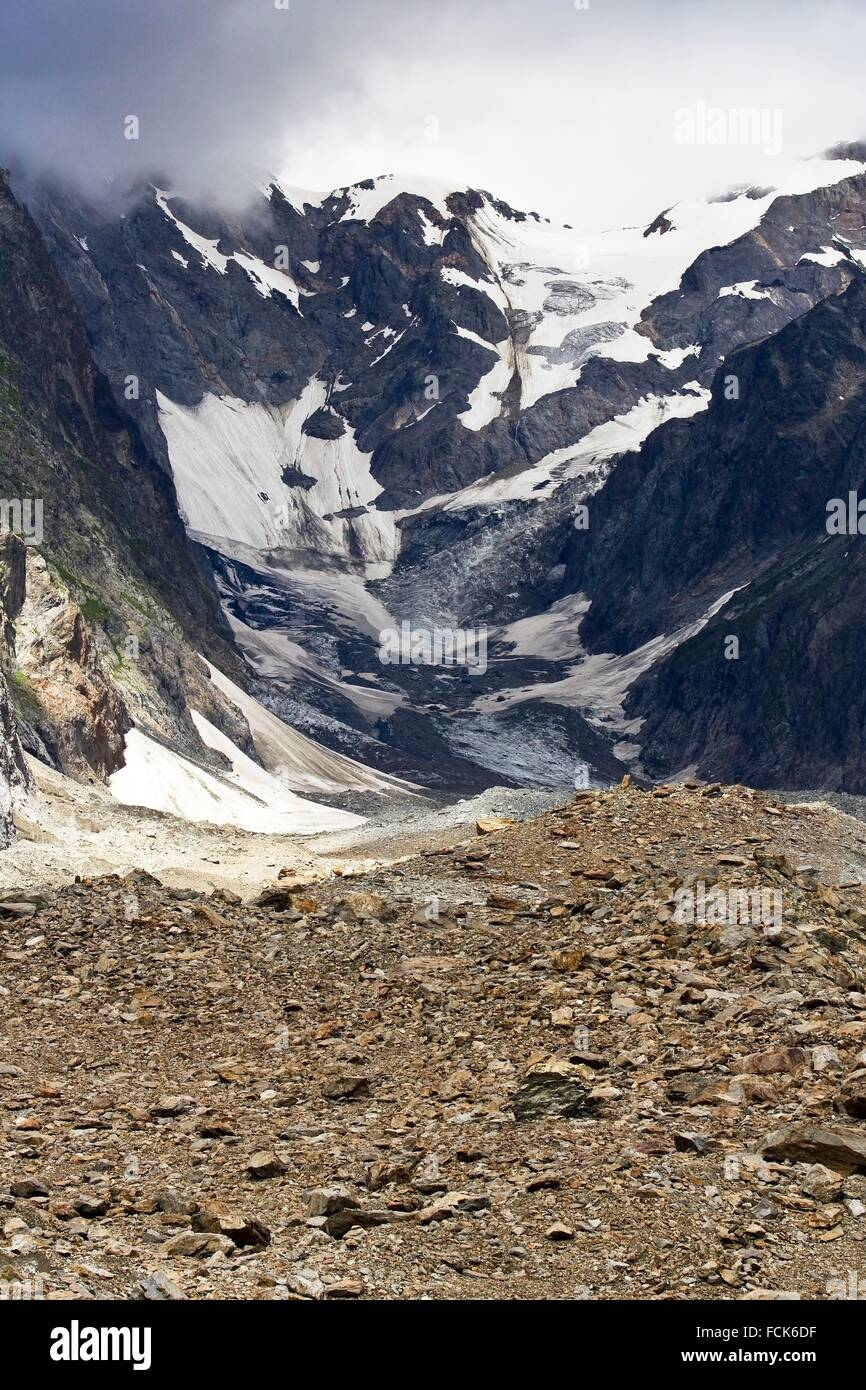 Glaciar de Miage. Macizo del Mont Blanc - Aosta. Alpes - Val d´Aosta. Italia. Europa. - Stock Image