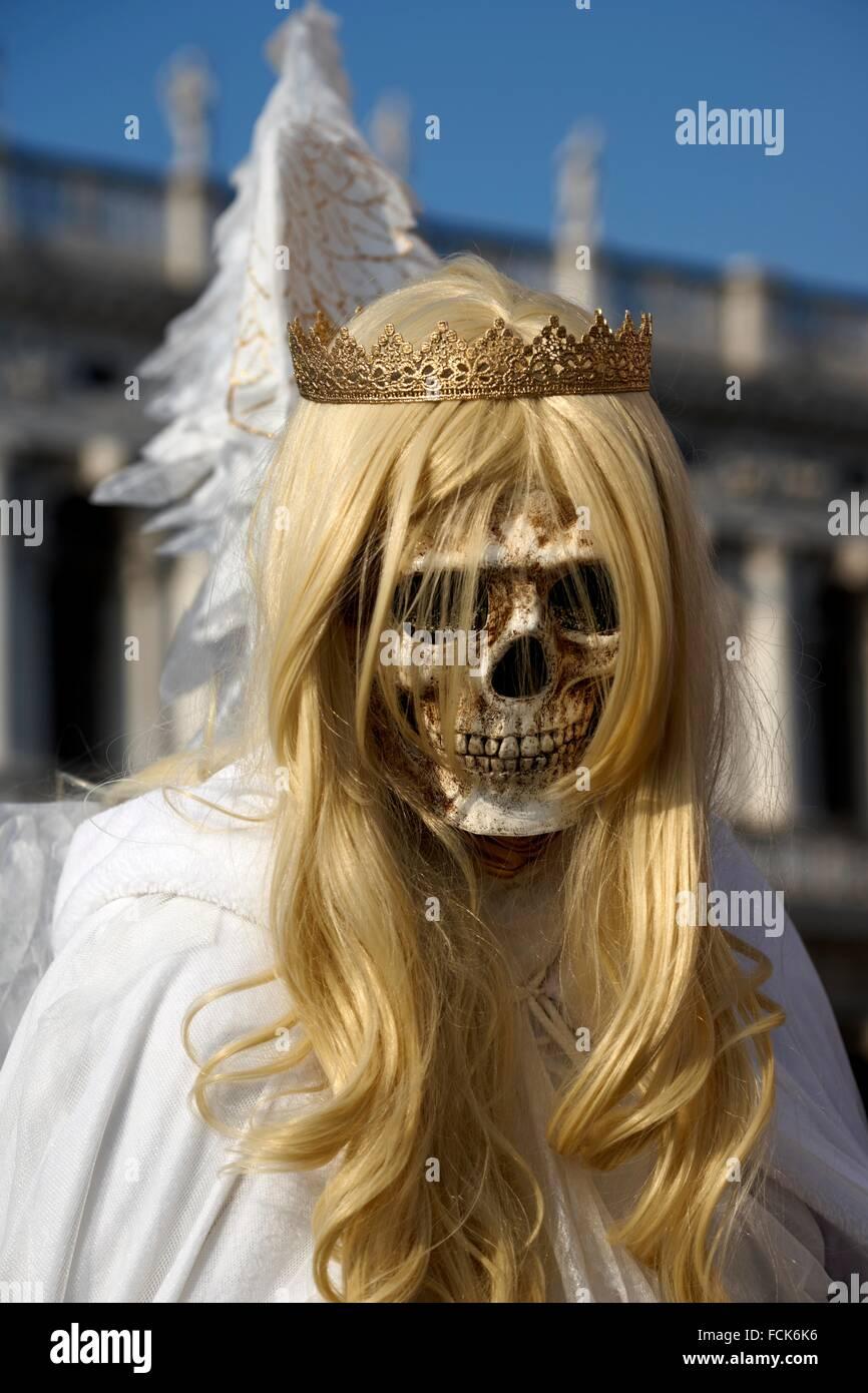 Carnival mask, Grim Reaper, Piazza San Marco, Venice carnival, Venice, Italy - Stock Image