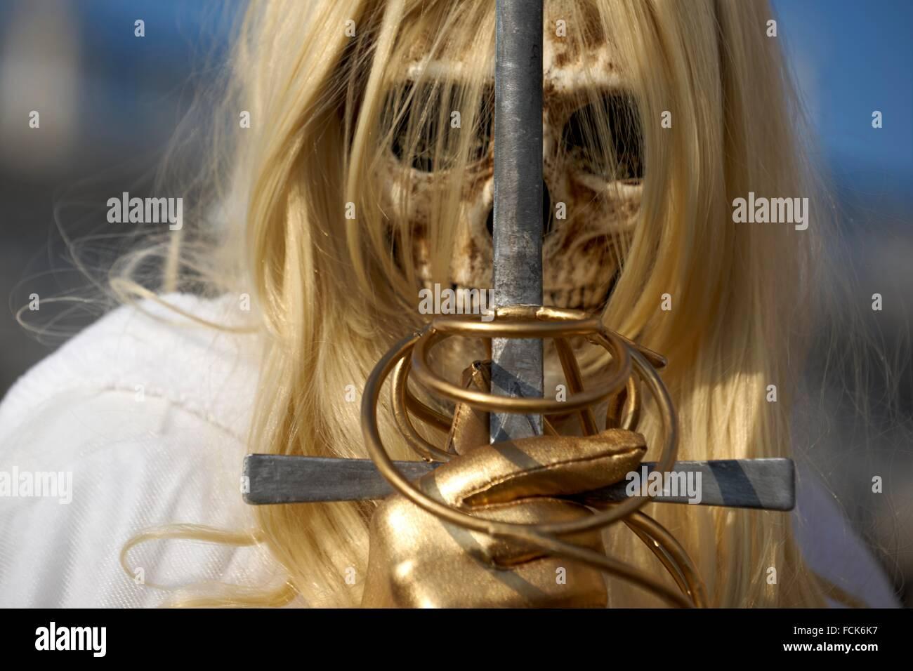 Carnival mask, Grim Reaper, Venice carnival, Venice, Italy - Stock Image
