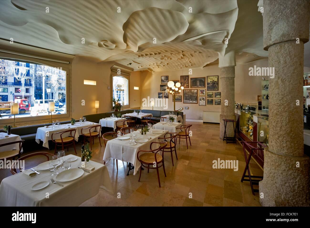 The interior of Café Pedrera, at the ground floor of Casa Mila Stock ...
