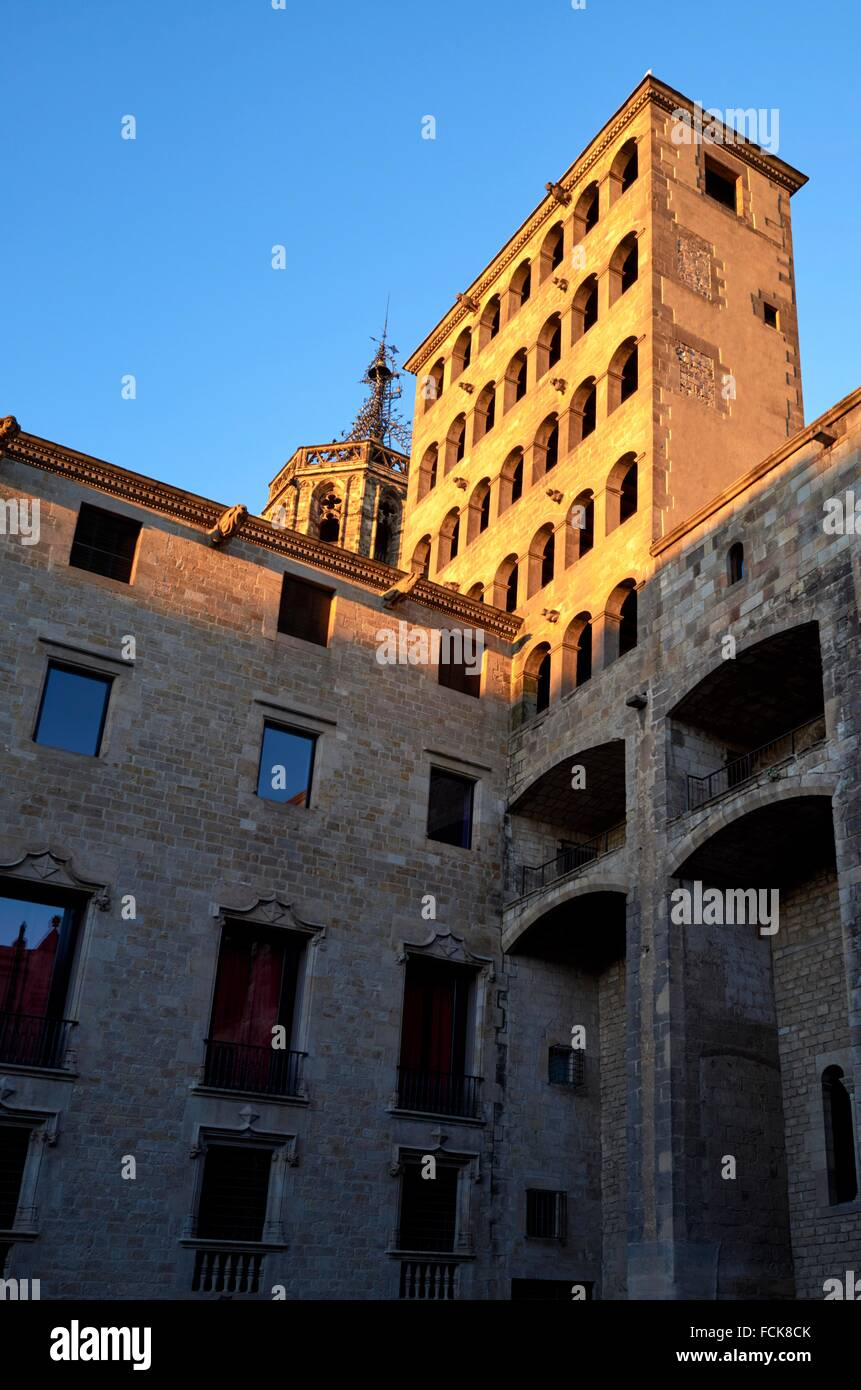 Plaça del Rei meaning ´King´s Square´ is a 14th-century medieval public square in the Barri - Stock Image