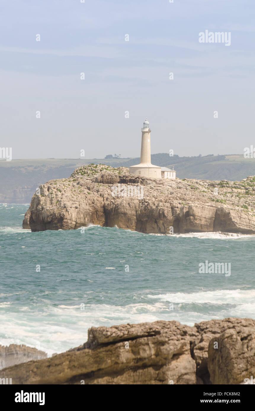 Santander Coastline's Lighthouse. Cantabria North Spain - Stock Image