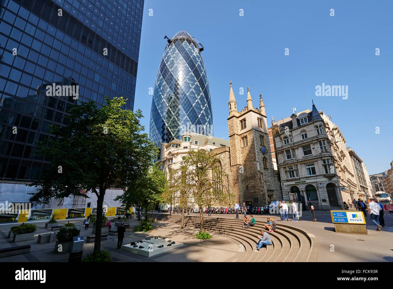 Church of St Andrew Undershaft and The Gherkin, London, United Kingdom, Europe. - Stock Image