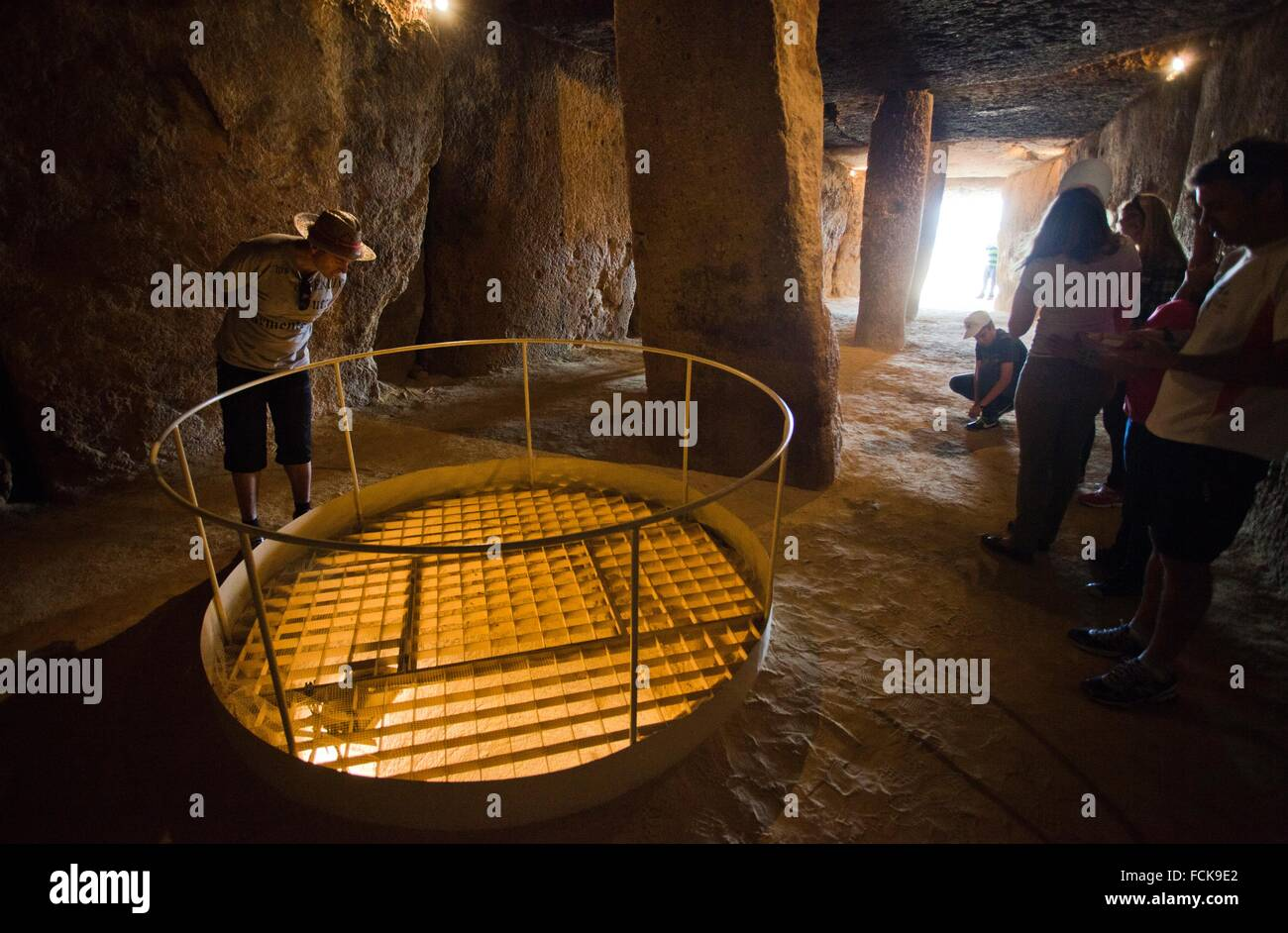 Well inside, Dolmen of Menga, Menga megalithic dolmen, 3rd millennium BCE, Antequera, Málaga province, Andalusia, - Stock Image