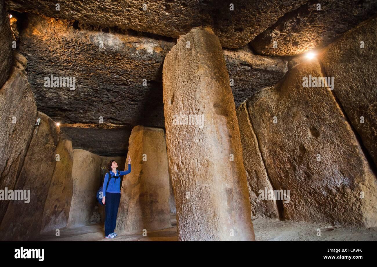 Dolmen of Menga, Menga megalithic dolmen, 3rd millennium BCE, Antequera, Málaga province, Andalusia, Spain, Europe. Stock Photo