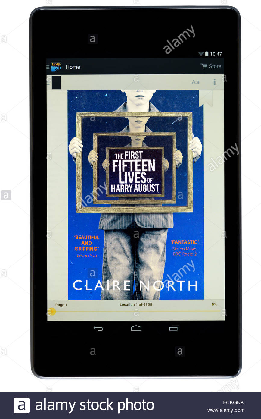 Claire North 2014 novel The First Fifteen Lives of Harry August, digital book cover on PC tablet, England Stock Photo