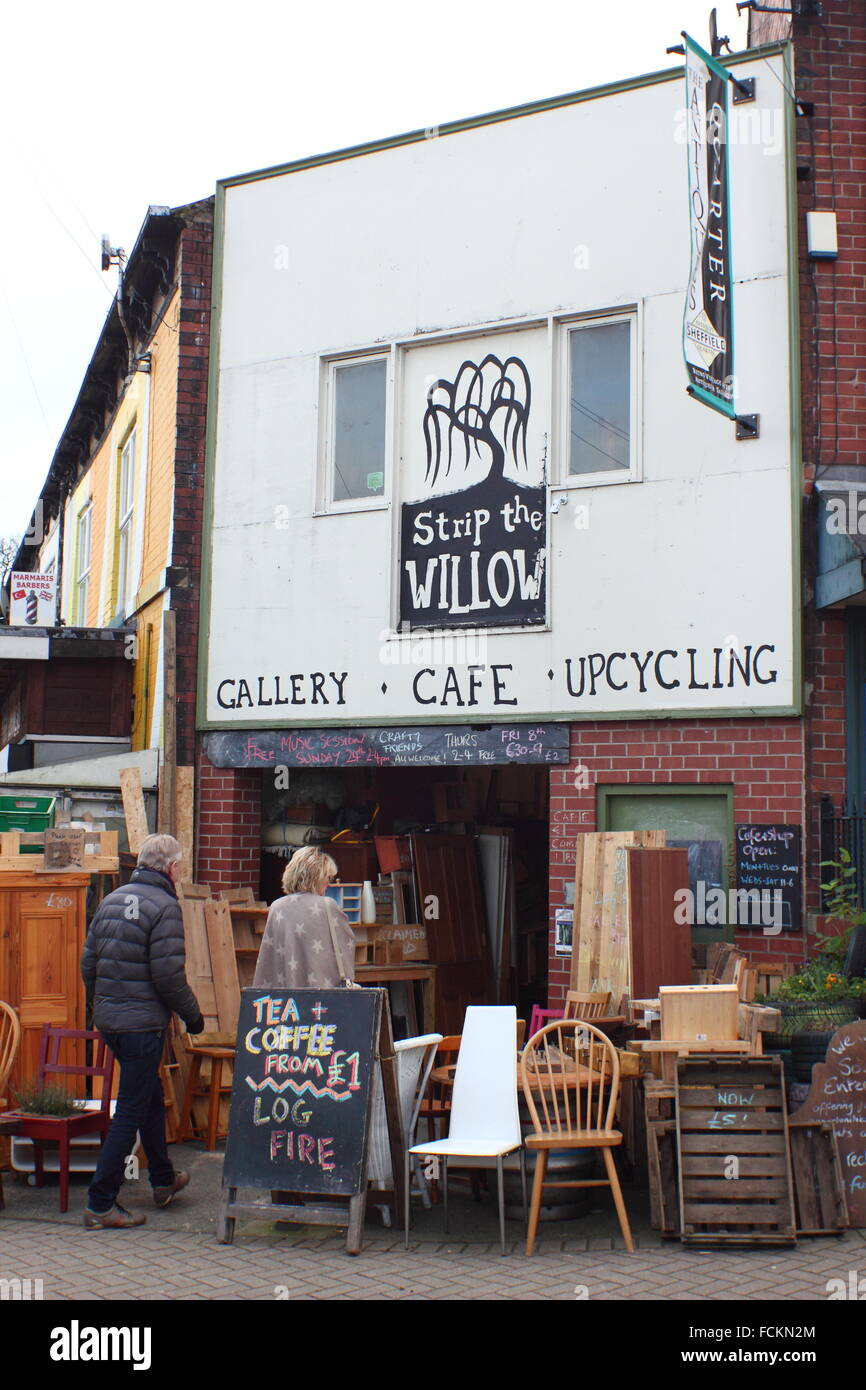 Strip the Willow, a social enterprise focusing on upcycling and community involvement, Sheffield UK - Stock Image