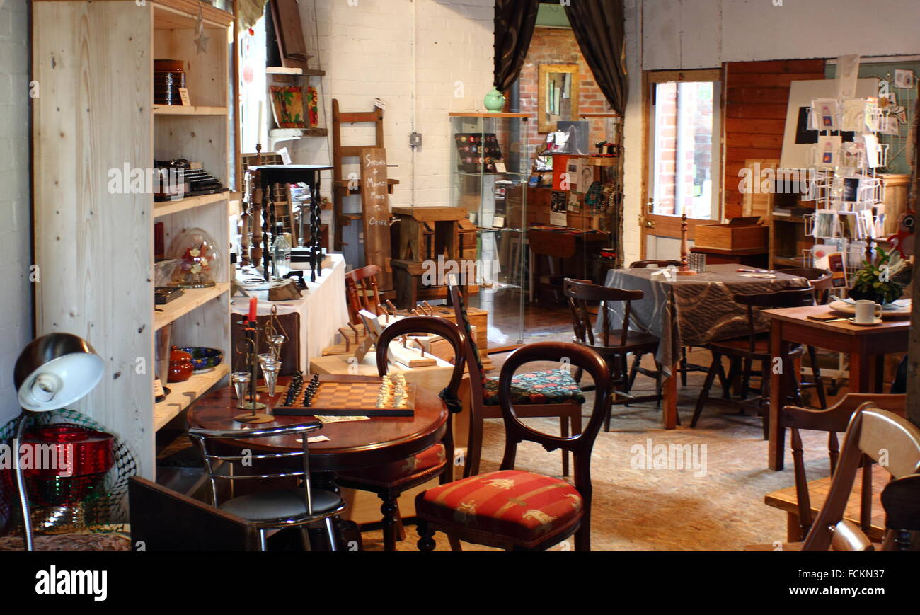 The cafe and gallery area in Strip the Willow, a social enterprise focusing on reclamation, upcycling and community - Stock Image