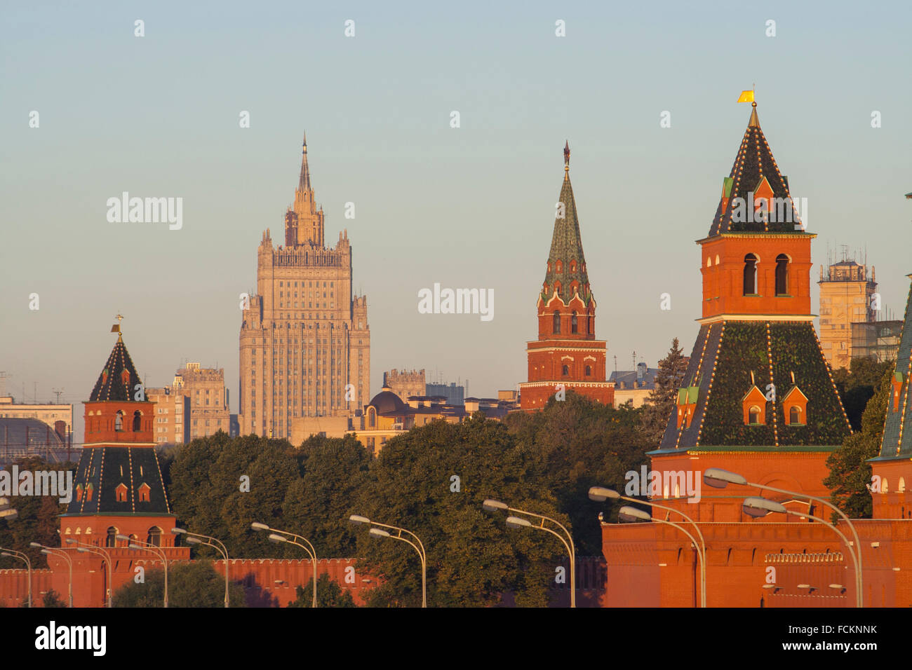 Kremlin wall and the Foreign Ministry, one of Stalin's Seven Sisters, early morning, Moscow, Russia Stock Photo