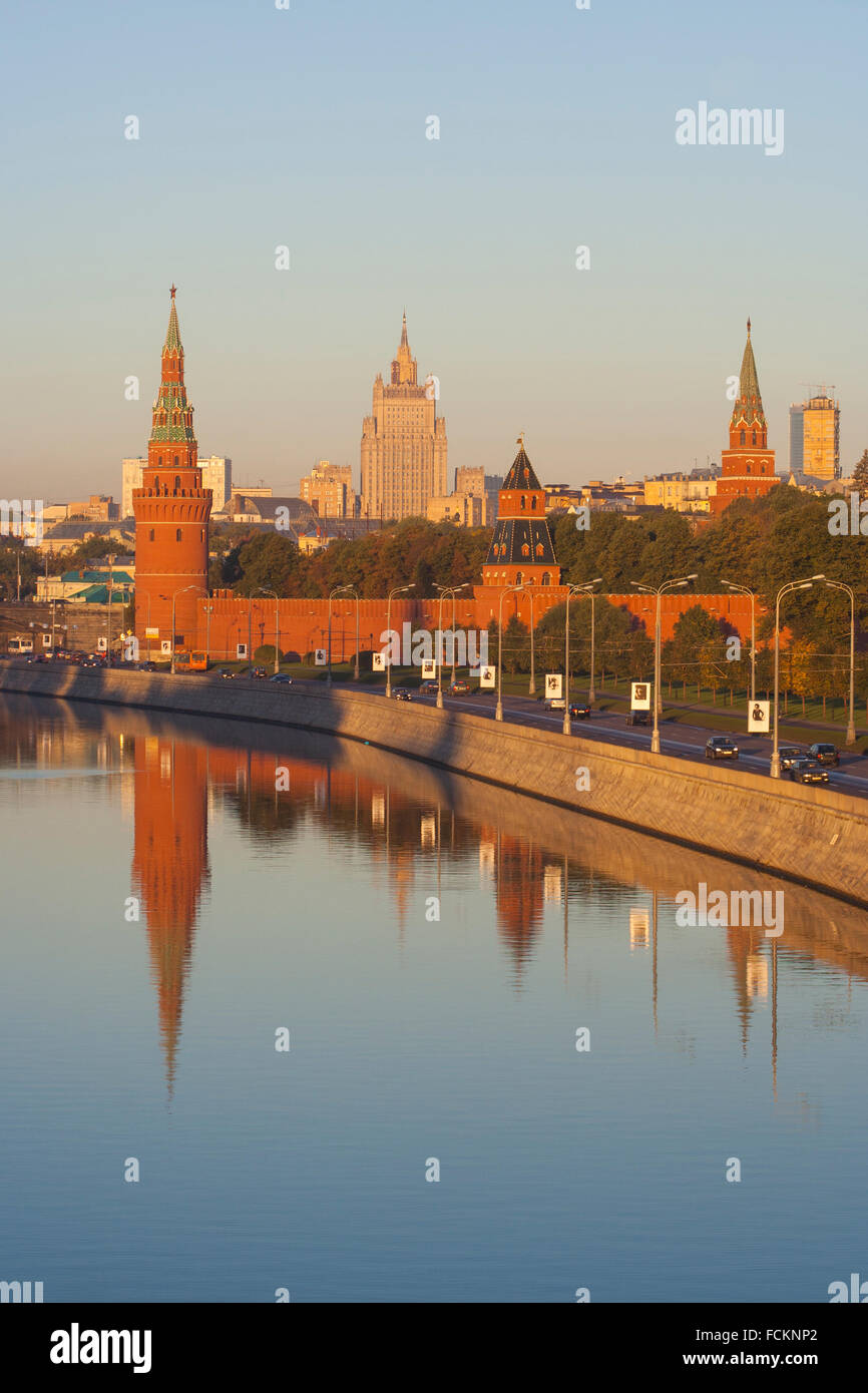 Kremlin Towers and Foreign Ministry reflected in the Moskva River, early morning, Moscow, Russia Stock Photo