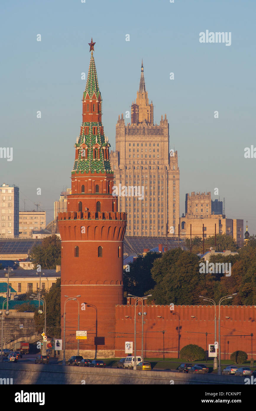 Vodovzvodnaya (water supplying tower), Kremlin wall and the Foreign Ministry, one of Stalin's Seven Sisters, Moscow, Russia Stock Photo