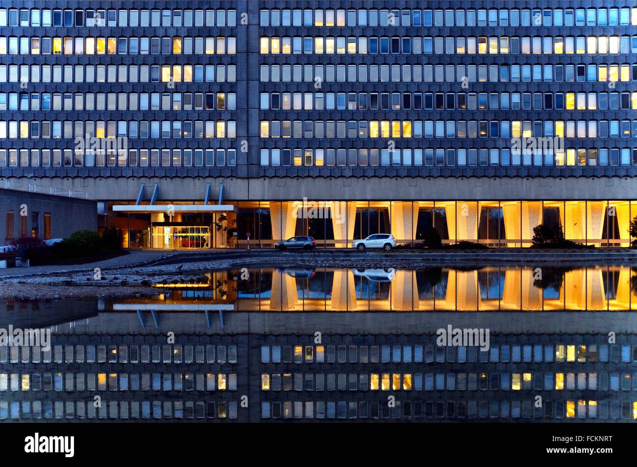 main entrance to ILO - International Labor Office - headquarters in Geneva, United Nations , U.N. Switzerland. - Stock Image