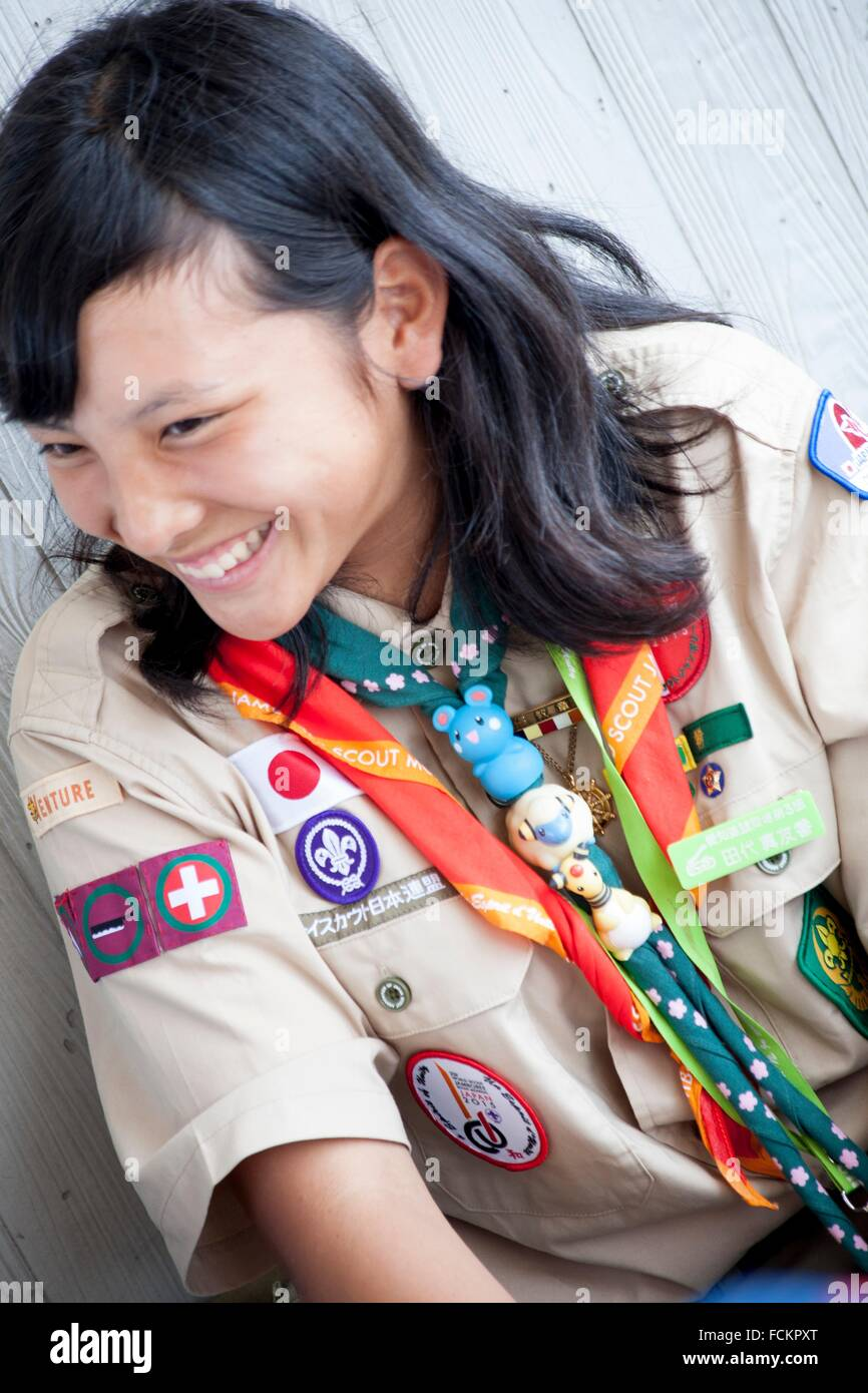 Scout at Hiroshima to commemorate the 70 aniversary of atomic bomb, Japan - Stock Image