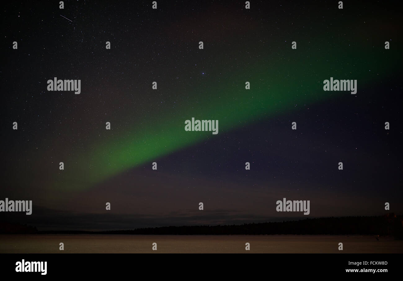Aurora Borealis with shooting star - Stock Image