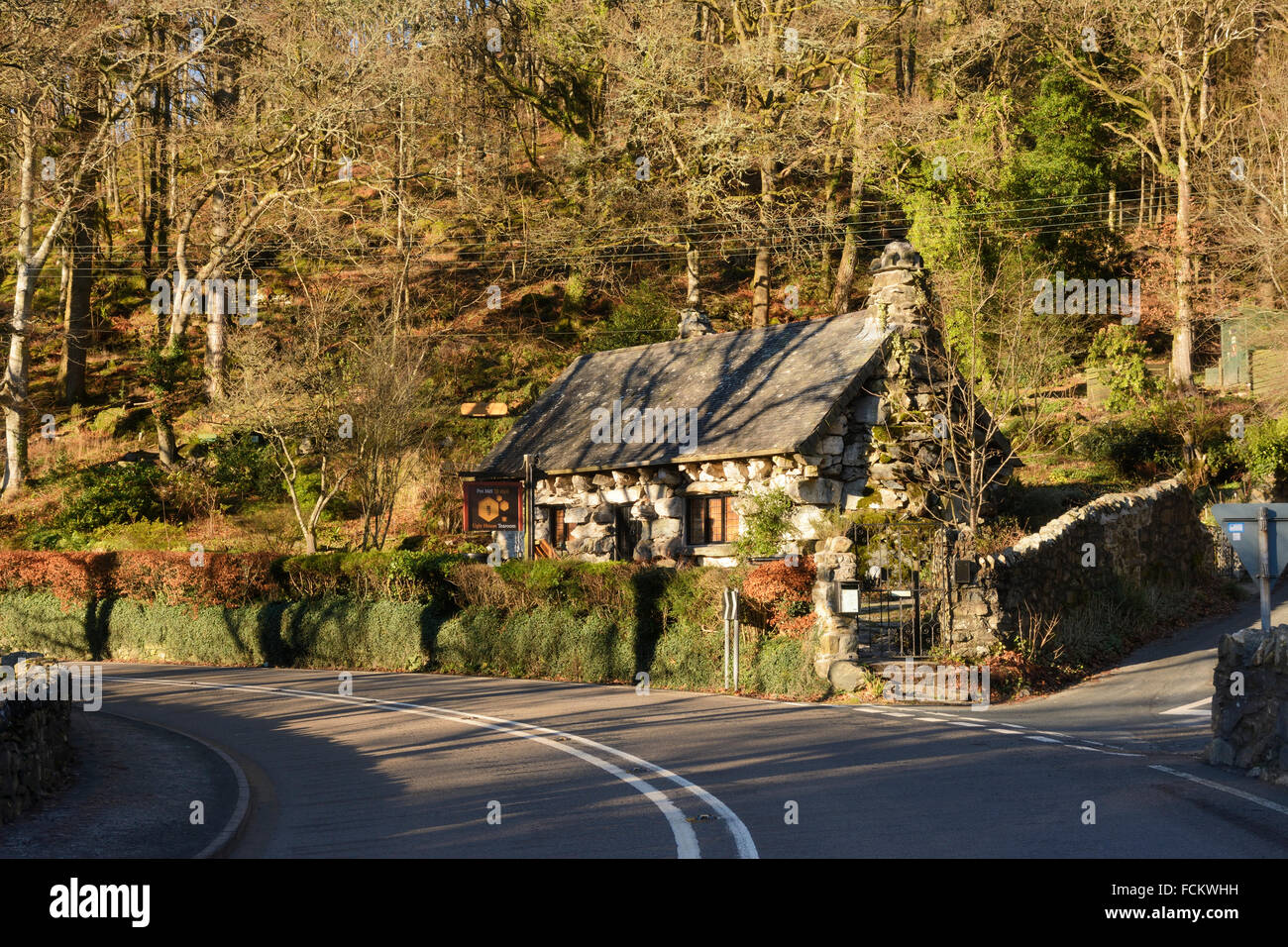Ty Hyll, the Ugly House on the main A5 London to Holyhead road at Capel Curig, Gwynedd. - Stock Image