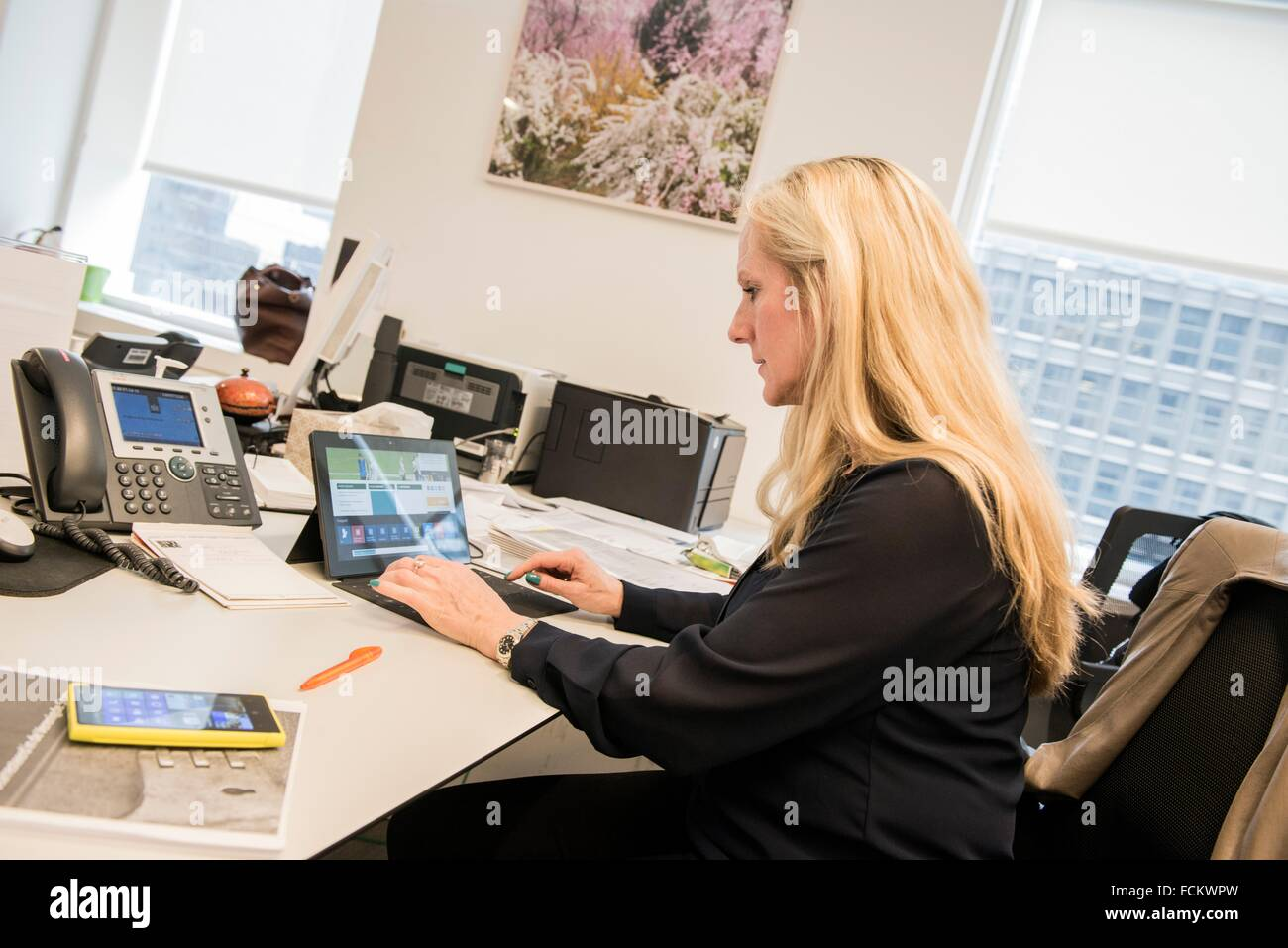 New York, USA. Consular employee at her office desk in the Dutch Consulate General, Manhattan. - Stock Image