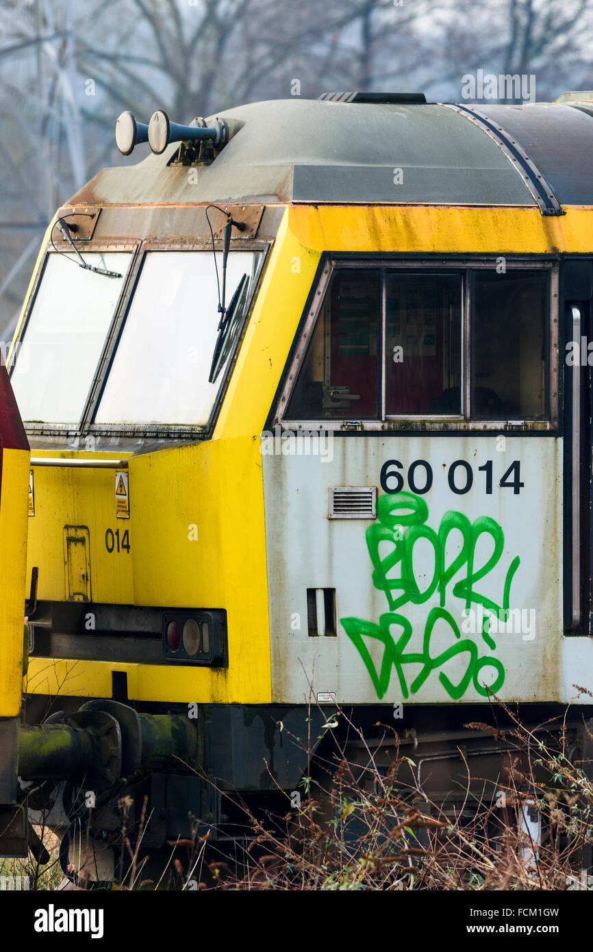 Driving Cab Of A Disused Class 60 Diesel Loco At Toton Depot In Nottinghamshire