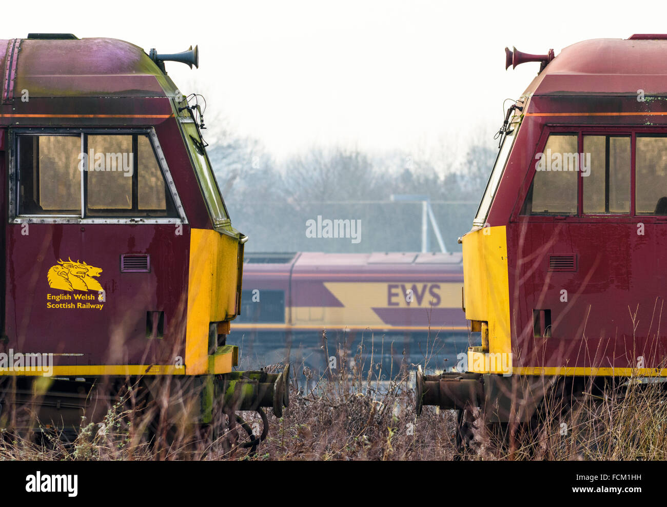 Driving Cabs Of Two Class 60 Diesel Locos At Toton Depot In Nottinghamshire