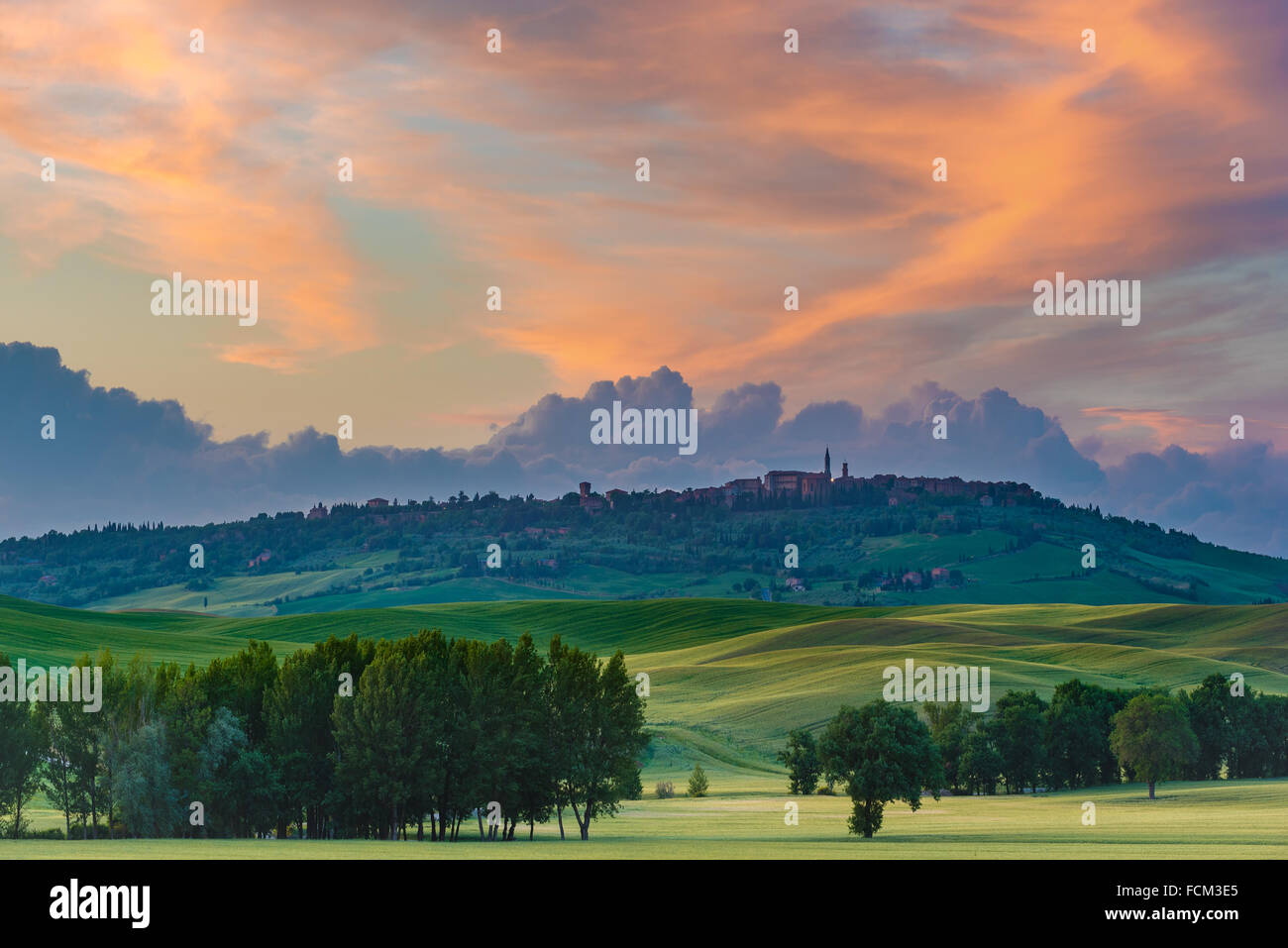 The medieval town of Pienza at colorful sunset Stock Photo