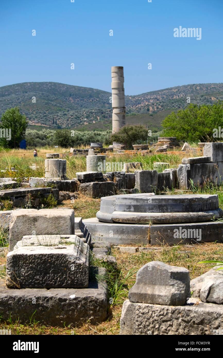 The Temple Of Hera Heraion Of Samos Samos Island North Aegean Stock Photo Alamy