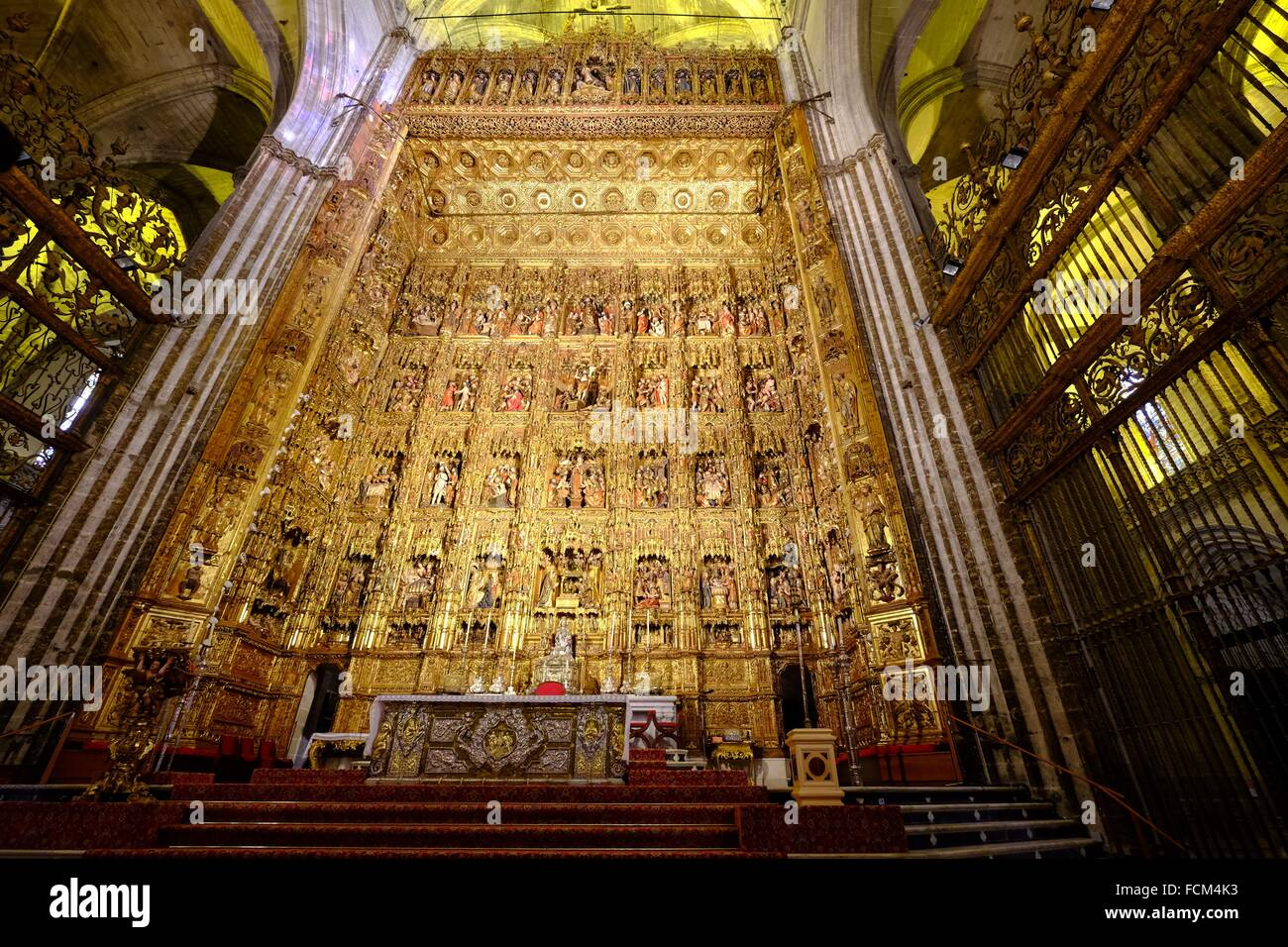 Pierre Dancart´s masterpiece, considered one of the finest altarpieces in the world, Sevilla Cathedral, Andalusia, - Stock Image