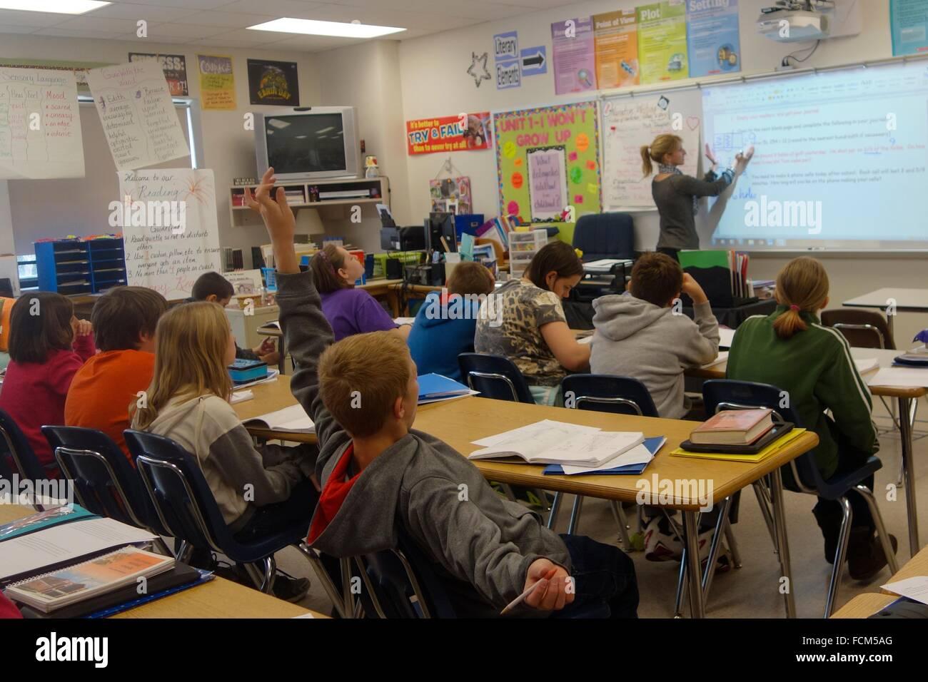 6th Grade Math Classroom, Wellsville, New York, United States Stock ...