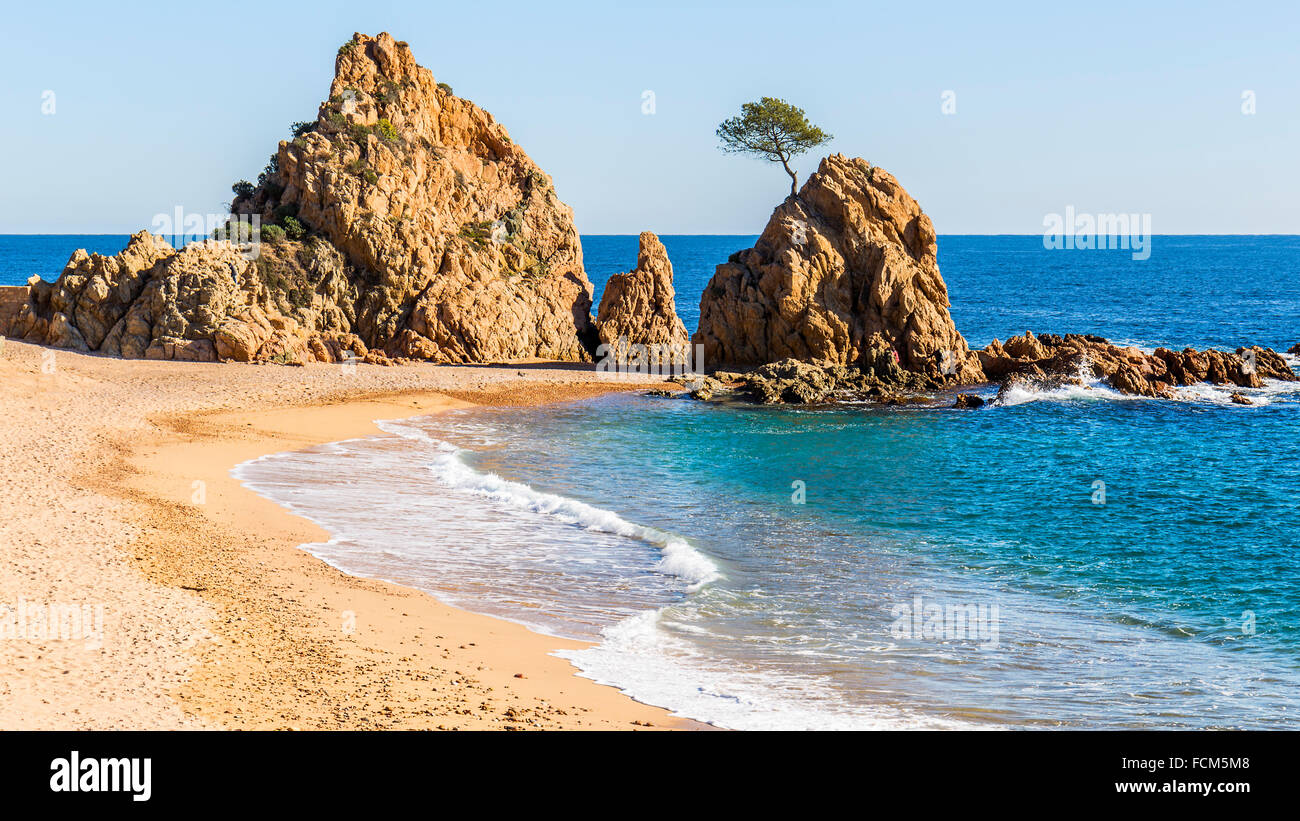 Mar Menuda Beach in Tossa de Mar, Costa Brava, Catalonia - Stock Image