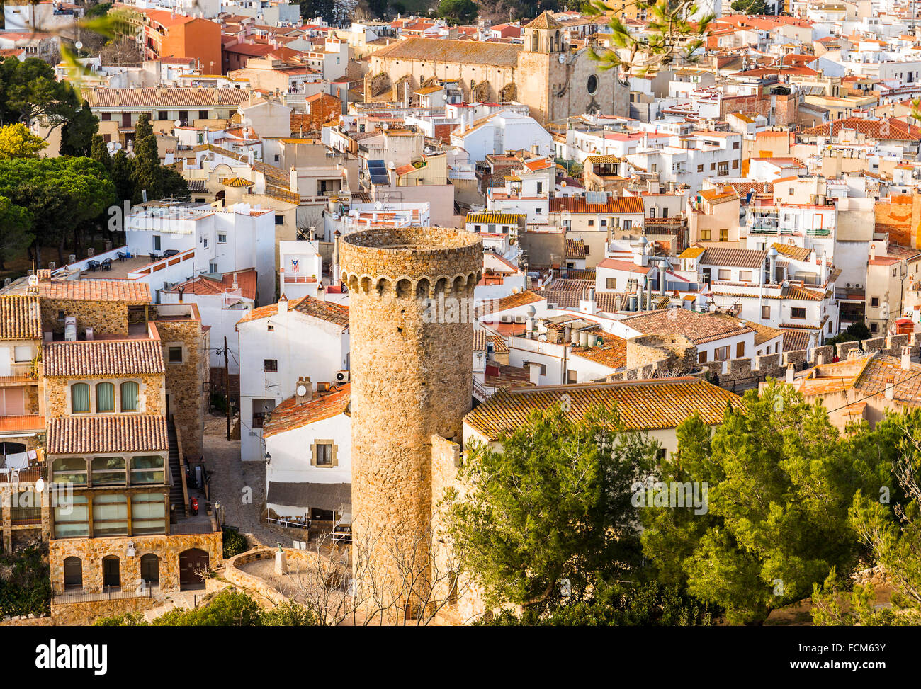 Tossa de Mar village in the afternoon, Costa Brava, Catalonia - Stock Image