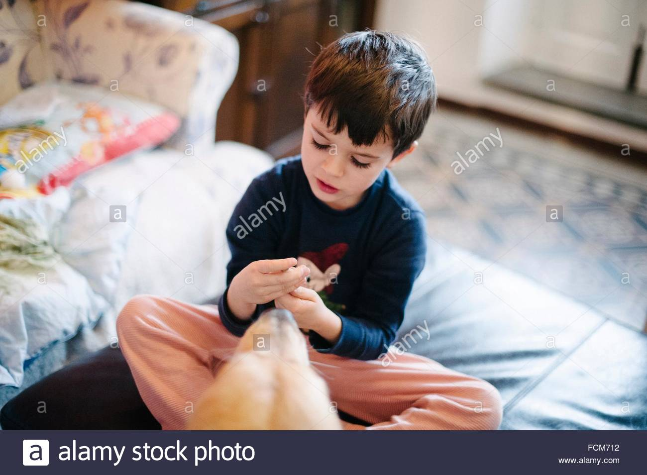 Child plays sitting on poof, dog near Stock Photo