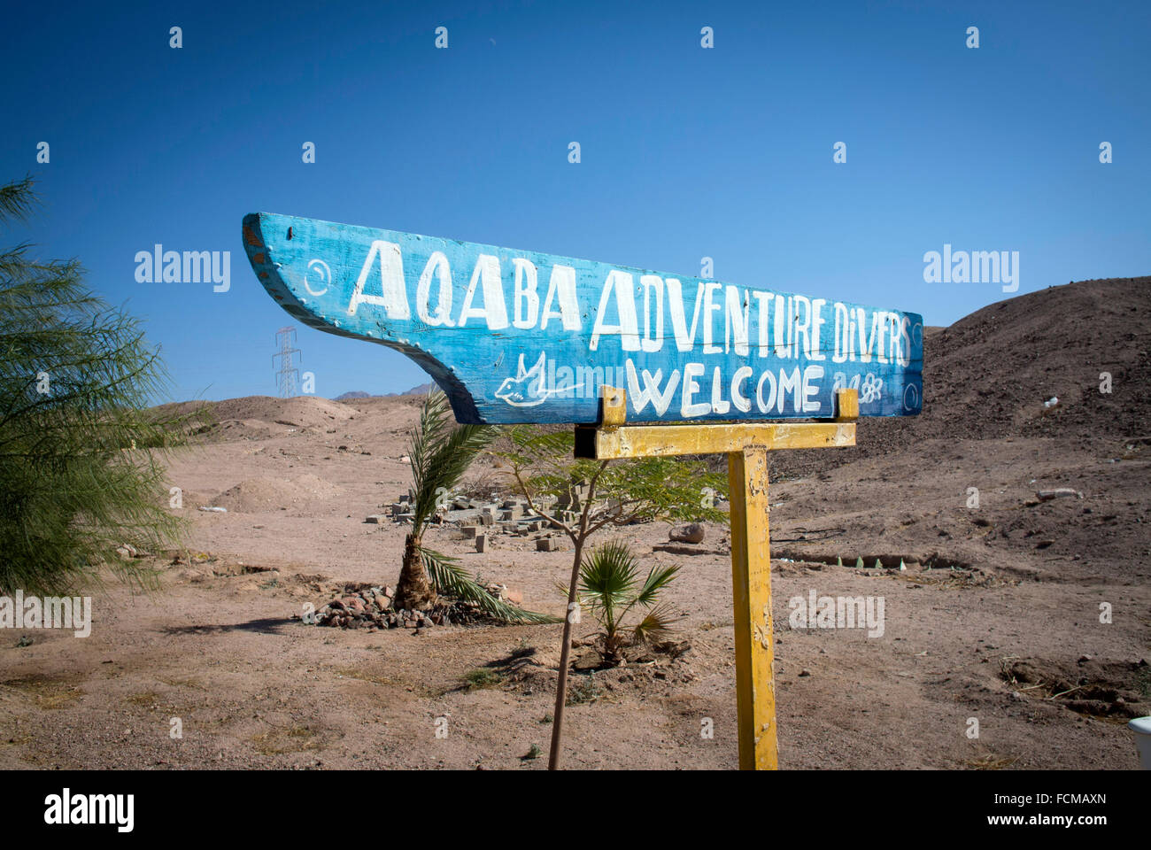 Signs to Diving Centers at Aqaba, Jordan - Stock Image