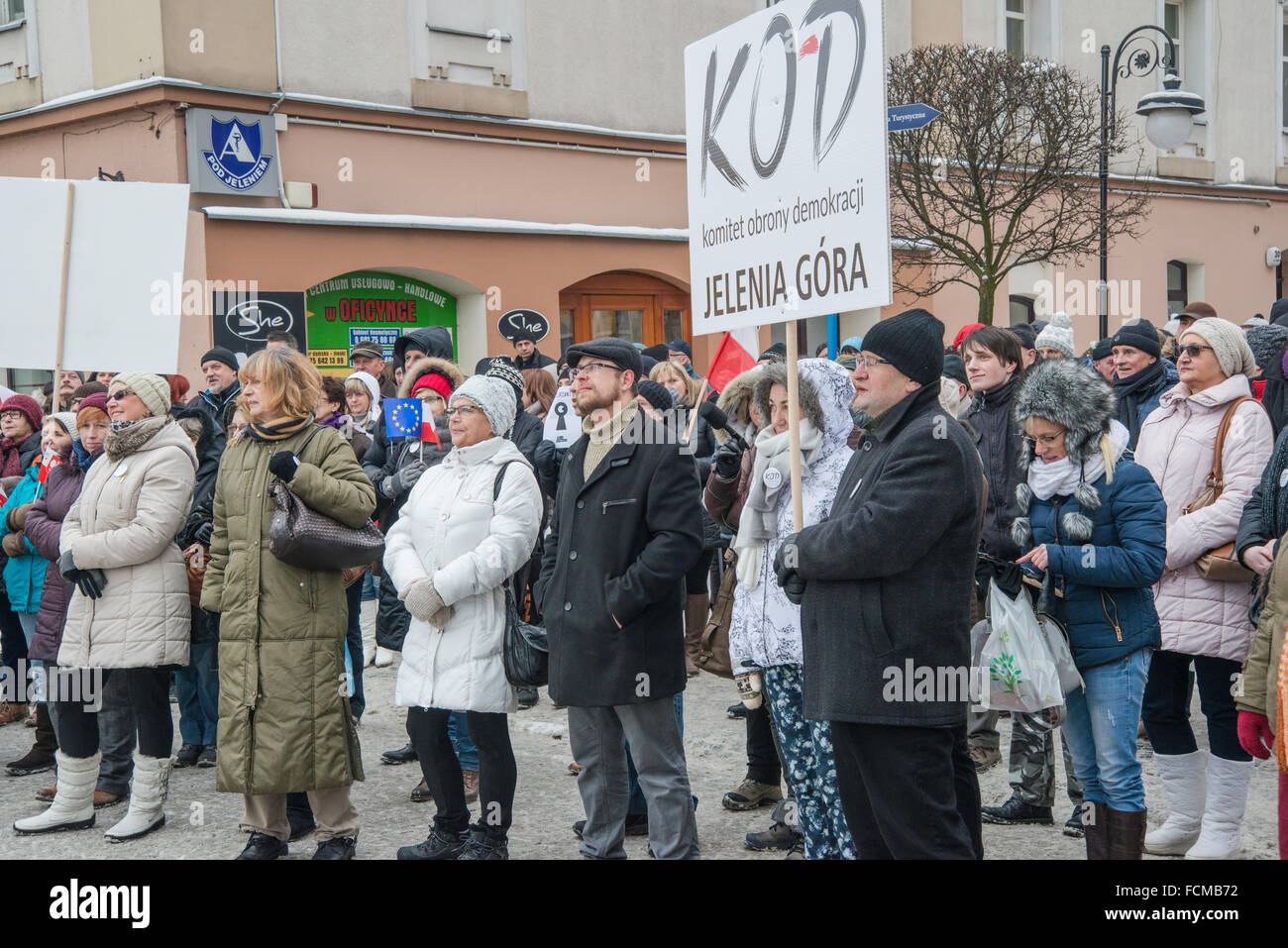 Jelenia Gora, Poland. 23th Jan, 2016. Supporters of Committee to Defend Democracy, protest against 'surveillance - Stock Image