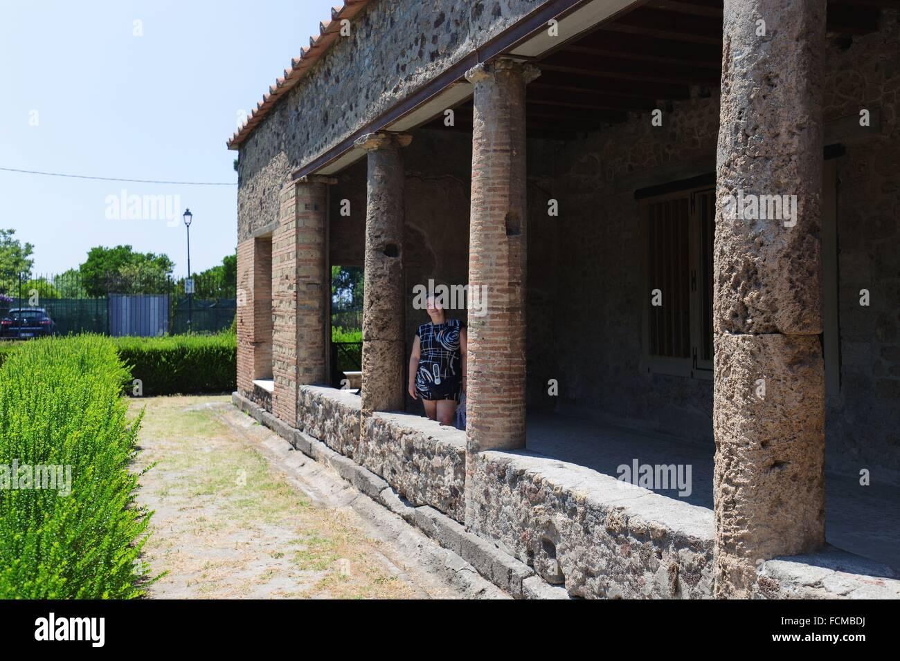 Excavations of Pompeii Naples Villa of the Mysteries - Stock Image