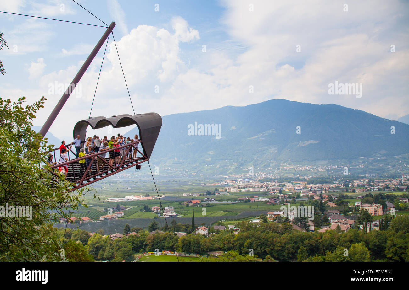 Observation Deck at the gardens of Trautmannsdorff Castle, Italy - Stock Image