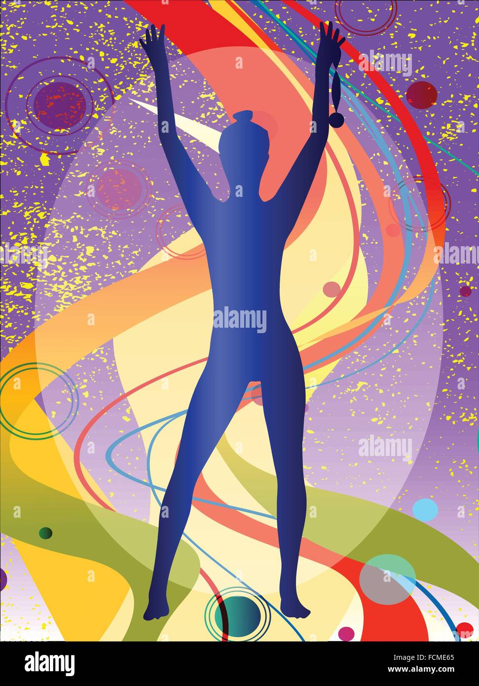 Medal winner holding the prize against an abstract background - Stock Vector