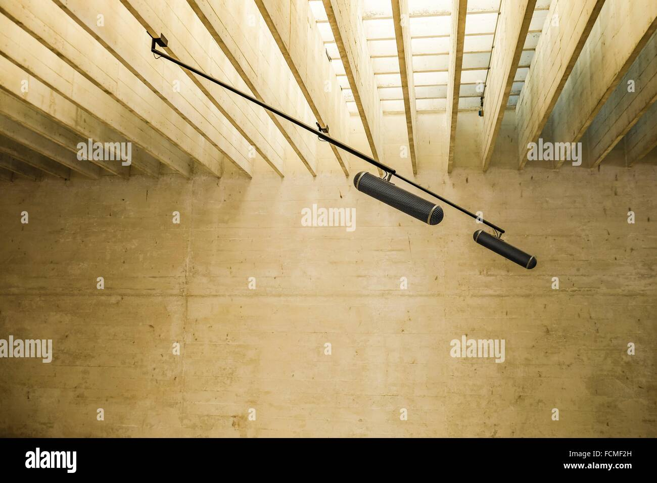 Microphones in empty space. - Stock Image