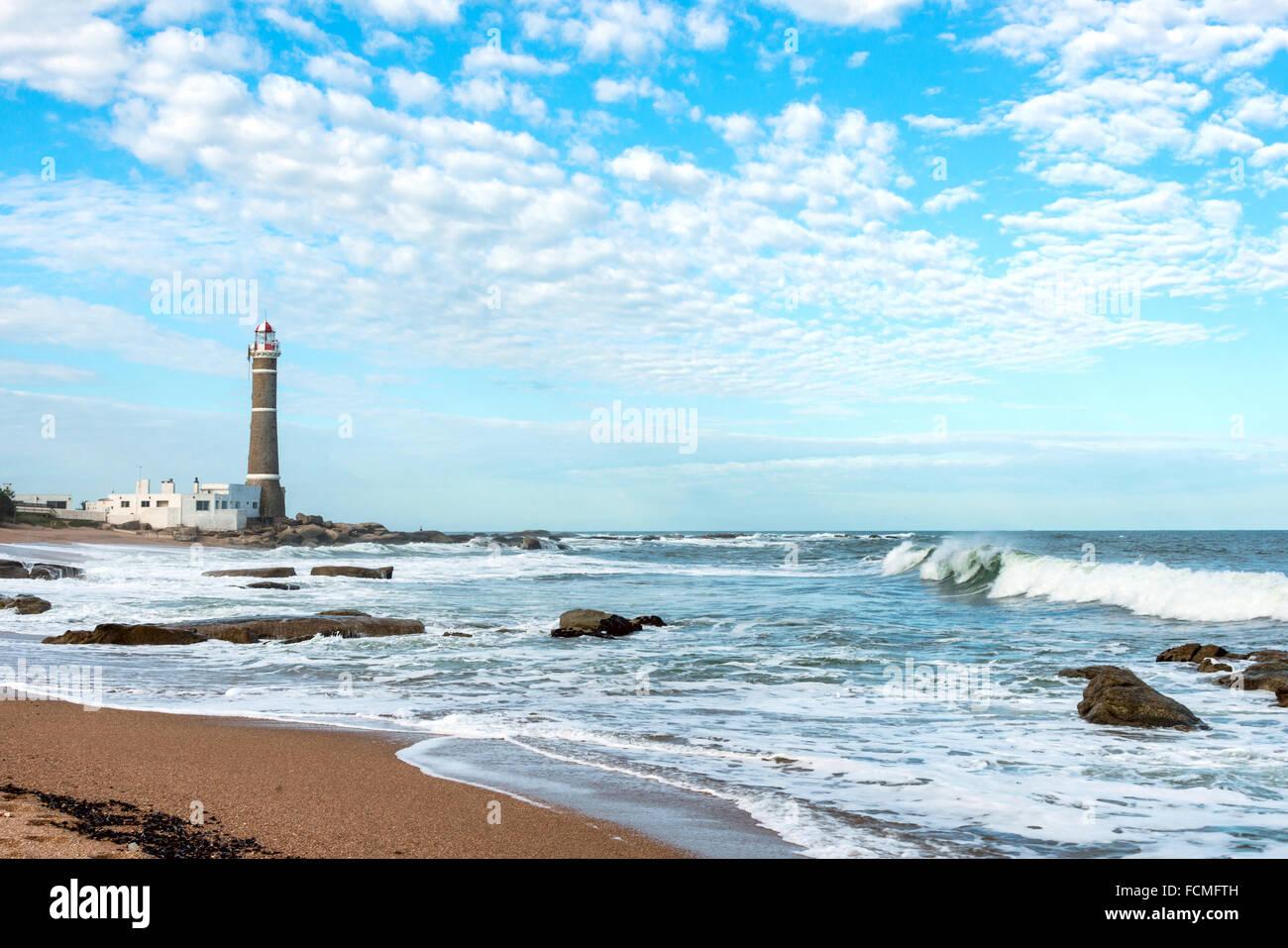 Lighthouse in Jose Ignacio near Punta del Este, Atlantic Coast, Uruguay - Stock Image