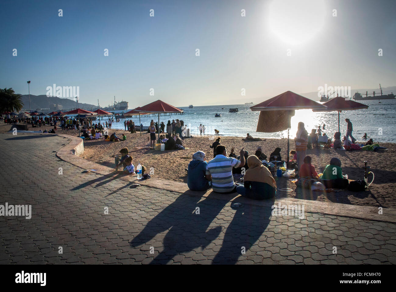 The public beach in Aqaba, Jordan. - Stock Image