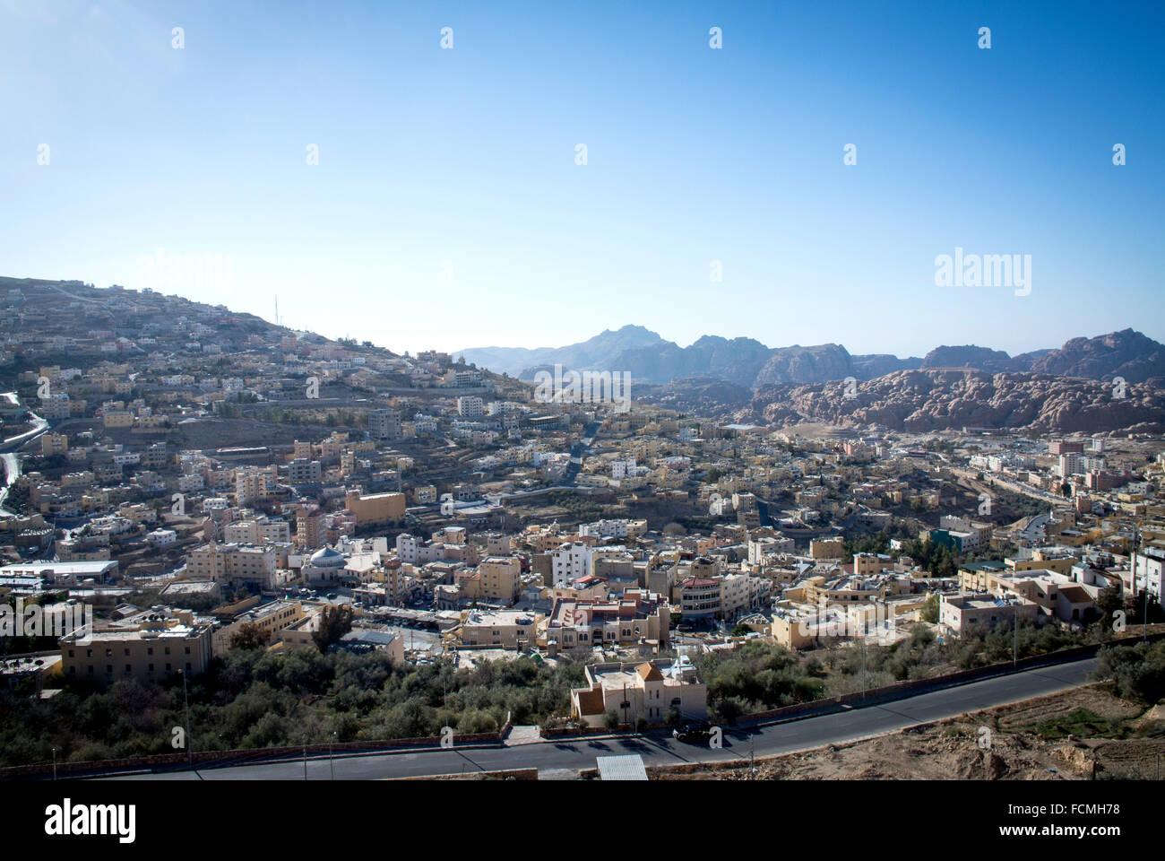 The town of Wadi Musa the gateway to Petra, Jordan - Stock Image