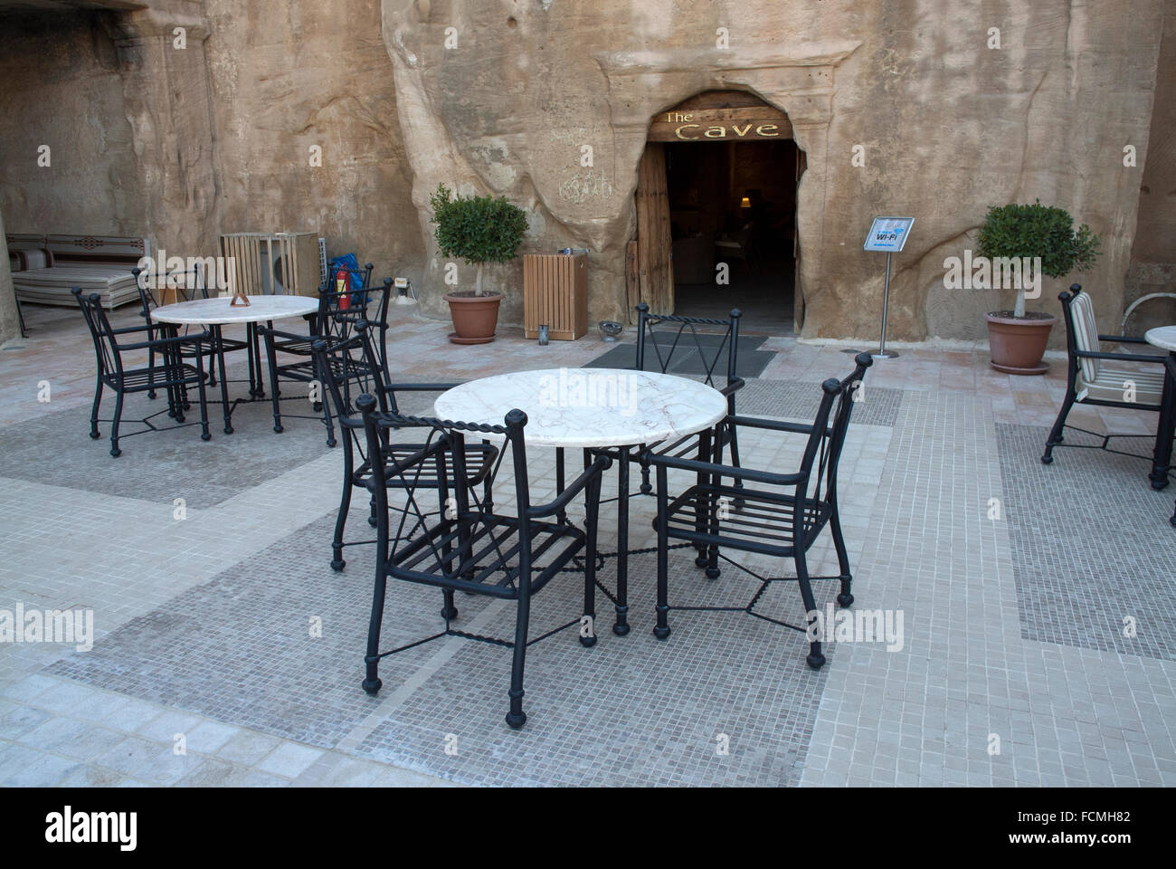 The oldest bar in the world 'The Cave Bar' in Wadi Musa at the entrance to Petra, Jordan - Stock Image