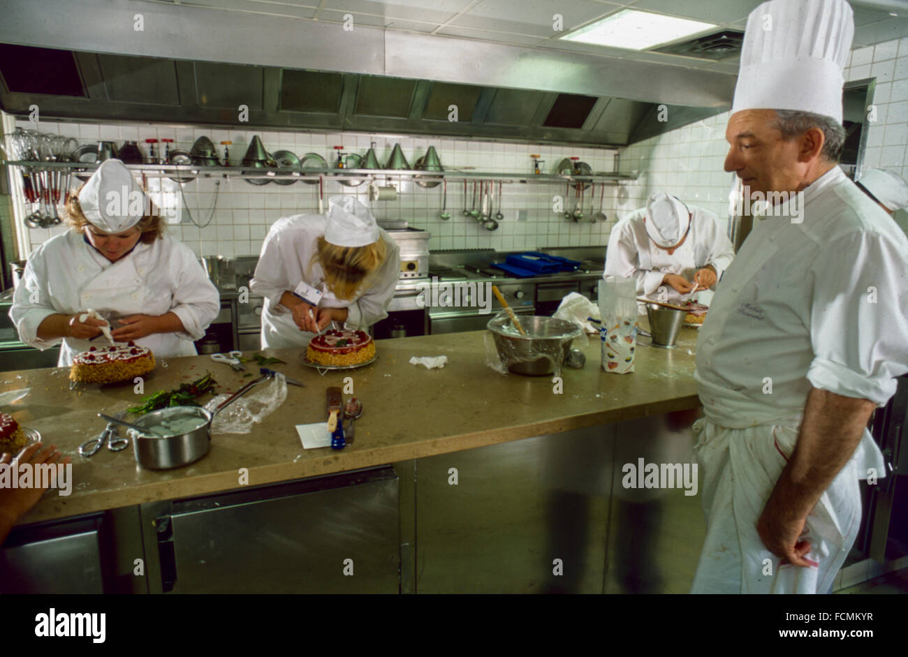 Paris, France, Students with teacher in French School Cooking Class ...