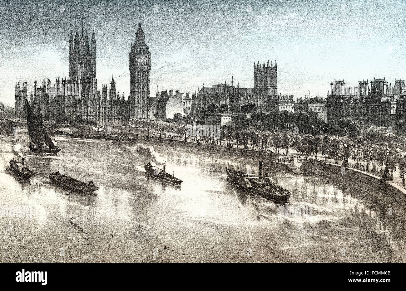 The Thames Embankment, 19th century, River Thames in central London, England - Stock Image