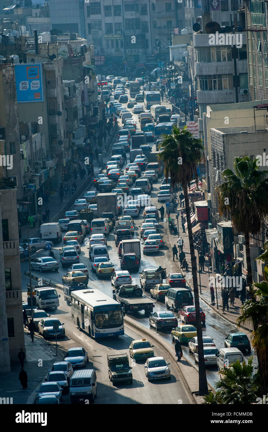 Traffic congestion in Downtown Amman, Jordan. - Stock Image