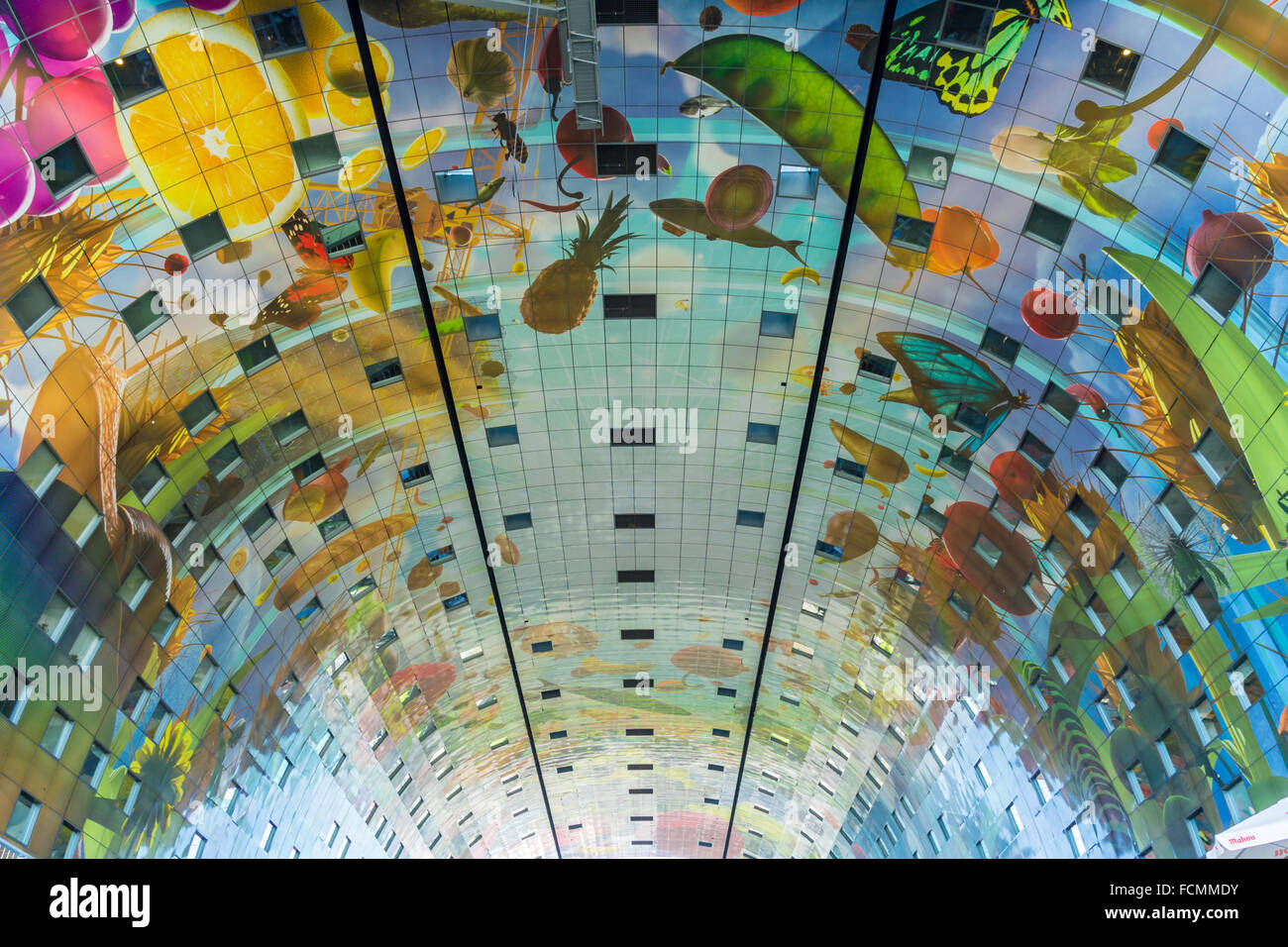 Markthal market hall ceiling Rotterdam, the Netherlands Stock Photo