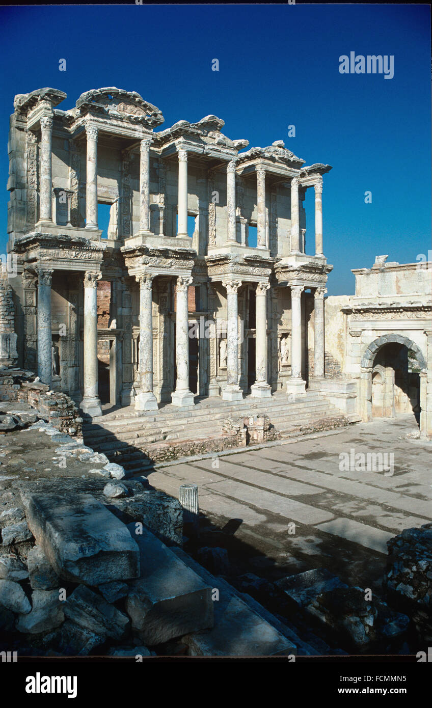 Celsus Library Ephesus Turkey - Stock Image