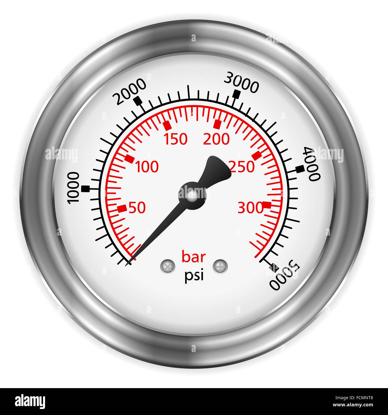 Manometer on a black background. - Stock Image