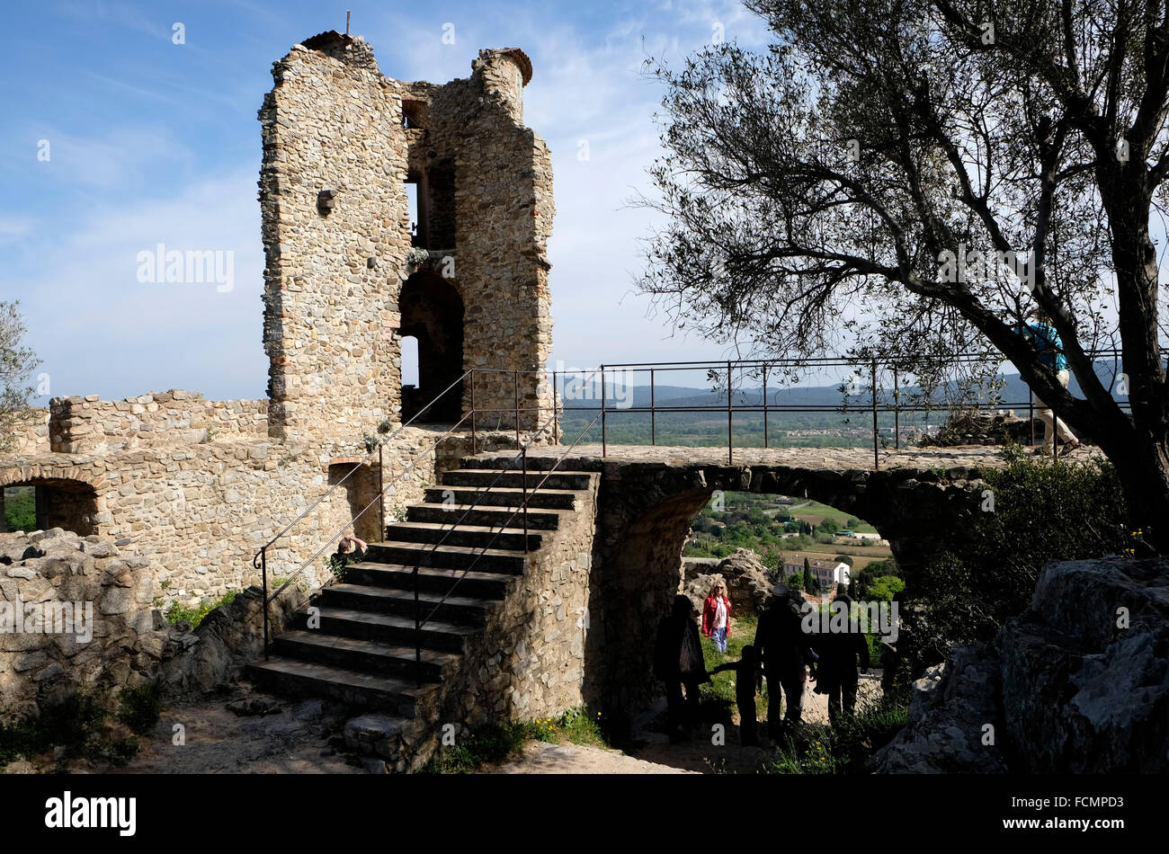 Grimaud, South of France, showing part of the ruined castle. - Stock Image