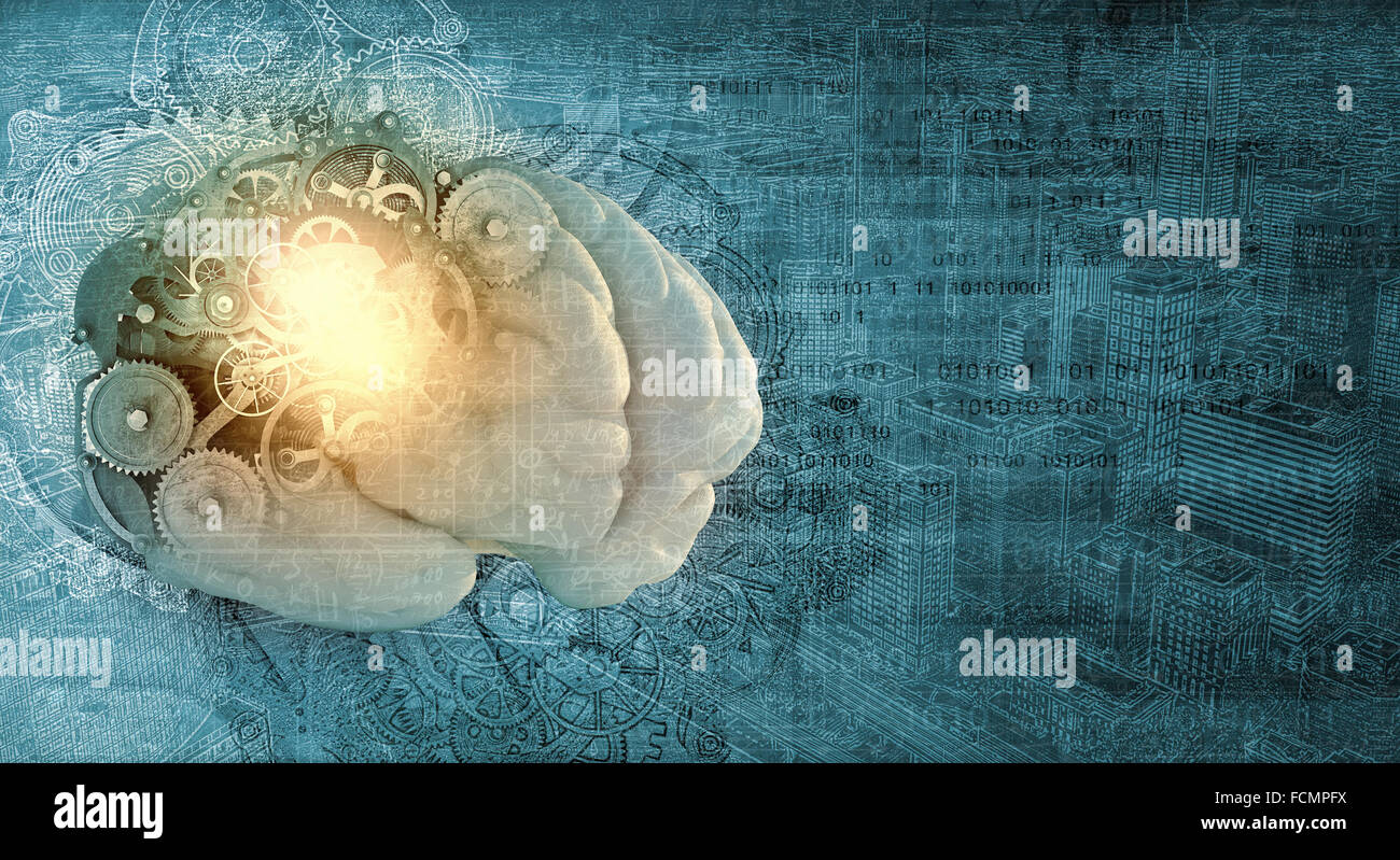 Model of human brain and cogwheel mechanism - Stock Image