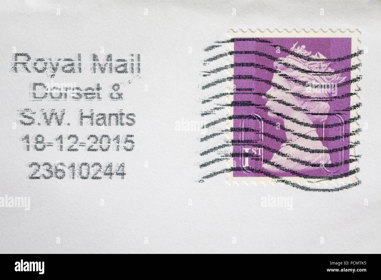 1st class stamp on envelope - Stock Image