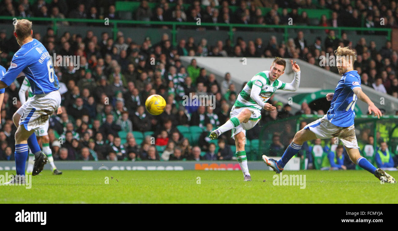 Celtic Park, Glasgow, Scotland. 23rd Jan, 2016. Scottish Premier League. Celtic versus St Johnstone. Callum McGregor - Stock Image