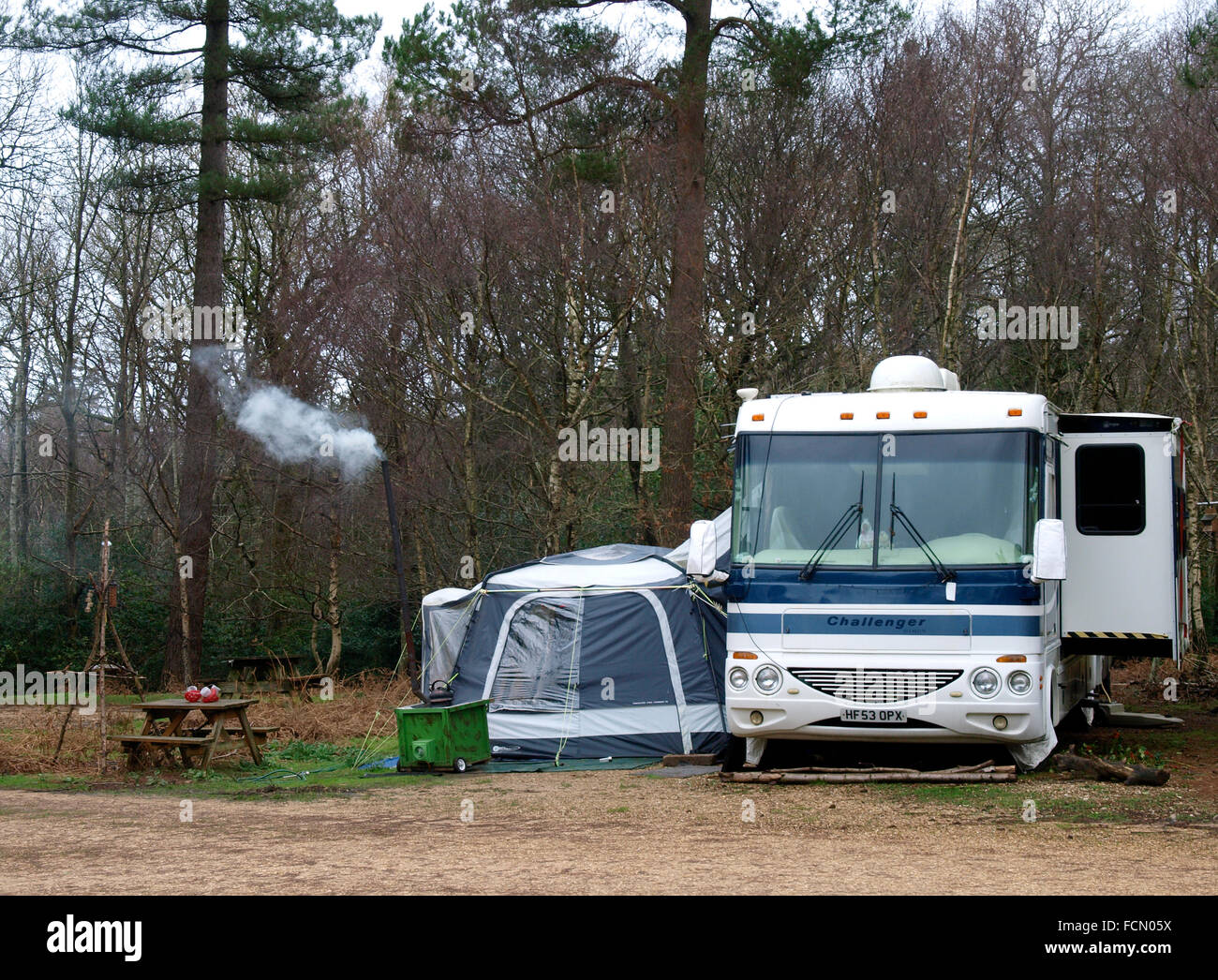 Camping in the Forest, The New Forest, Hampshire, UK - Stock Image
